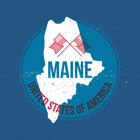 maine: map of maine state label