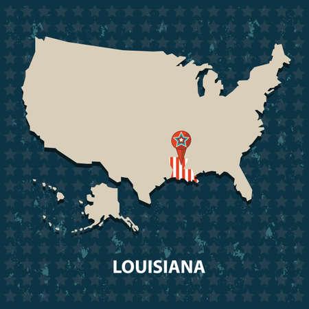 louisiana: louisiana state on the map of usa