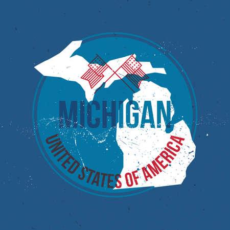 michigan: map of michigan state label