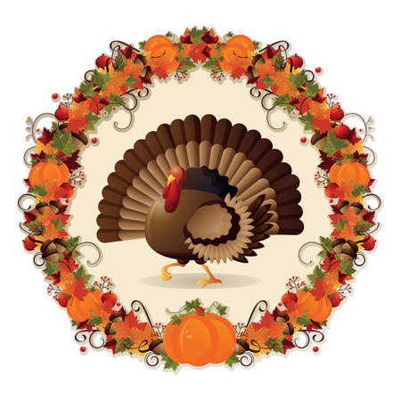 traditional events: thanksgiving turkey in a wreath