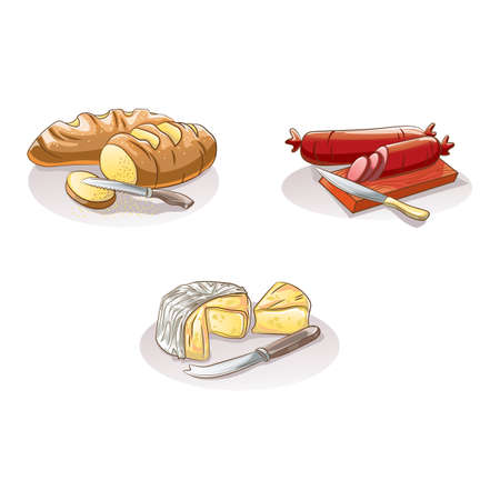 cheese bread: sliced bread, salami and cheese Illustration