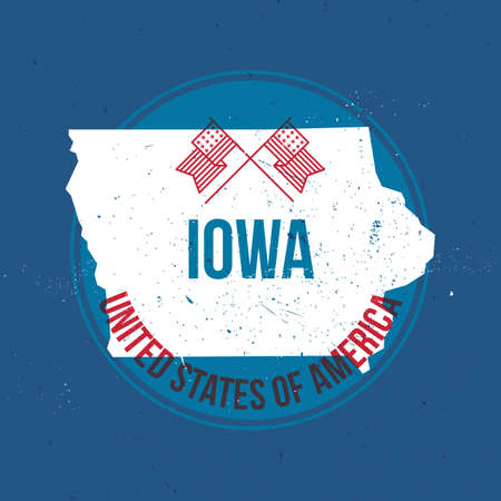 Map Of Iowa State Label Royalty Free Cliparts Vectors And Stock