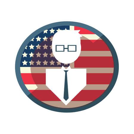 president of the usa: man on usa flag Illustration