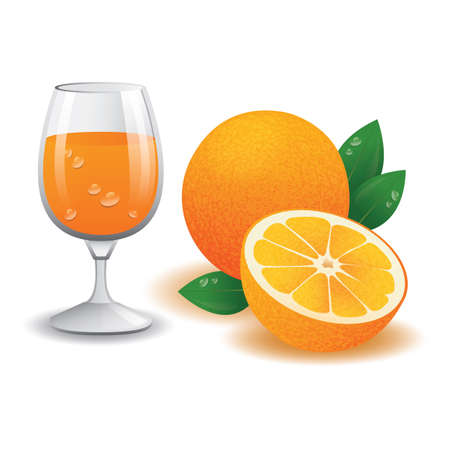 orange juice: glass of orange juice and fruits