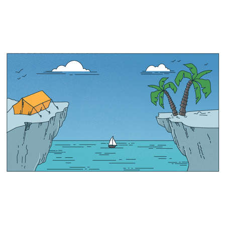 cliff edge: camping on the edge of a cliff Illustration