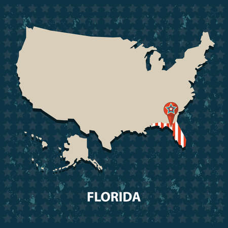 florida state: florida state on the map of usa Illustration