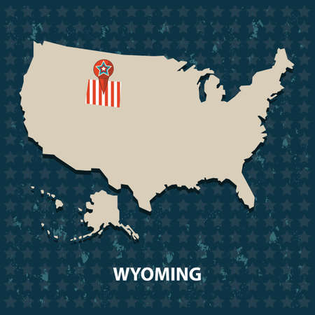 wyoming: wyoming state on the map of usa