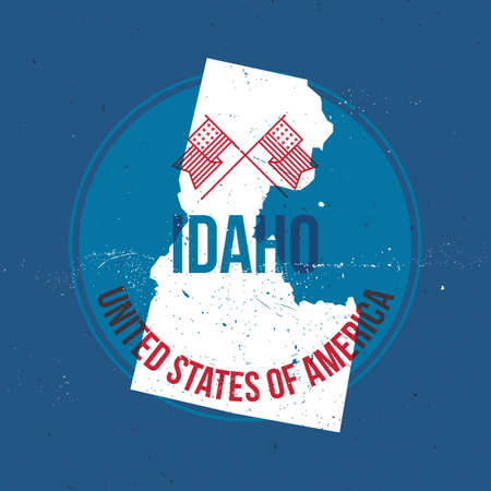 idaho state: map of idaho state label Illustration