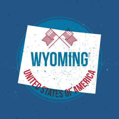 wyoming: map of wyoming state label