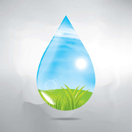 waterdrop: double exposure of waterdrop and nature Illustration