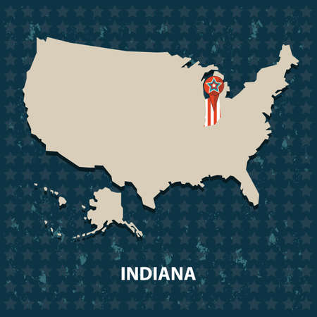 indiana: indiana state on the map of usa Illustration
