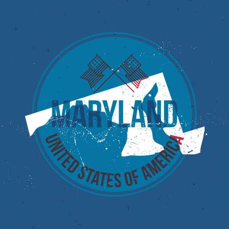 maryland: map of maryland state label Illustration