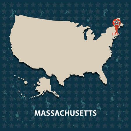 massachusetts: massachusetts state on the map of usa