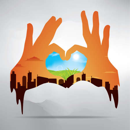 double: double exposure of hands and nature Illustration