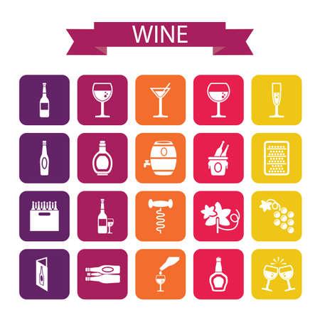 cork screw: set of wine icons