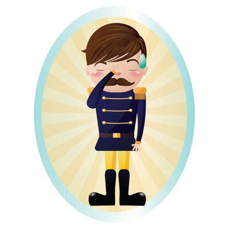 feeling: soldier feeling disappointed Illustration