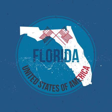 florida state: map of florida state label Illustration