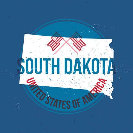 south dakota: map of south dakota state label Illustration