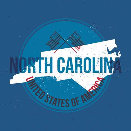north carolina: map of north carolina state label Illustration