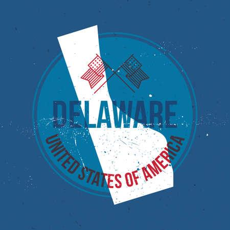 delaware: map of delaware state label