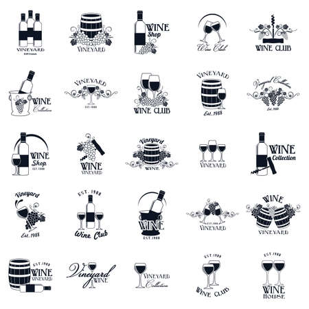 collection of vineyard labels Vector Illustration