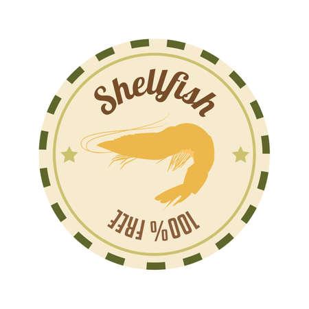 shellfish: shellfish label Illustration