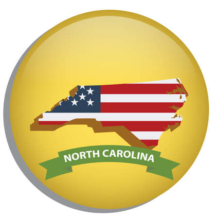 north carolina: map of north carolina state Illustration