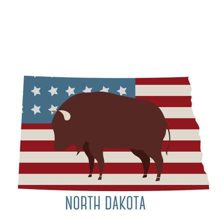 dakota: north dakota state map with bison