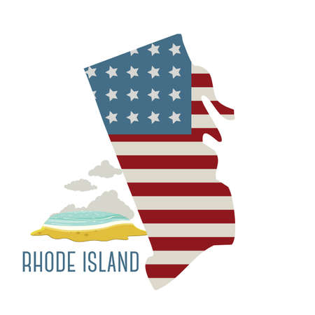 island state: rhode island state map with beach Illustration