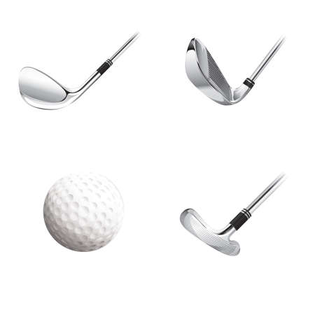 drivers: golf ball and clubs