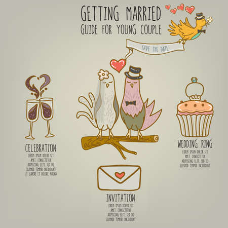 getting married: infographic of getting married Illustration