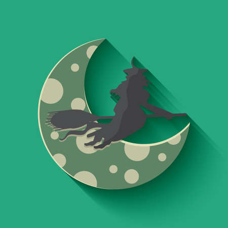 crescent: crescent moon and witch
