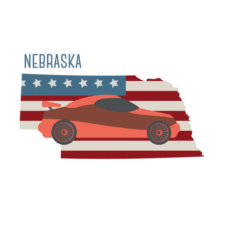 nebraska: nebraska state map with sports car