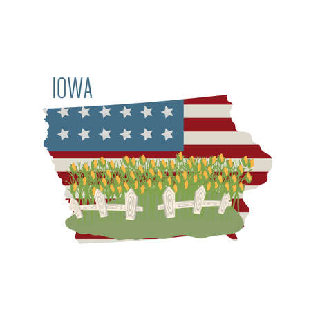 iowa agriculture: iowa state map with corn field