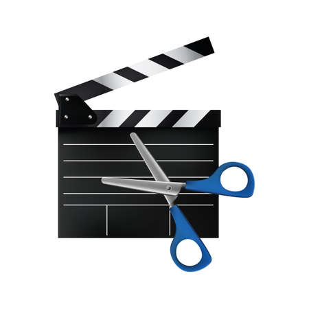 pair of scissors: clapperboard and a pair of scissors
