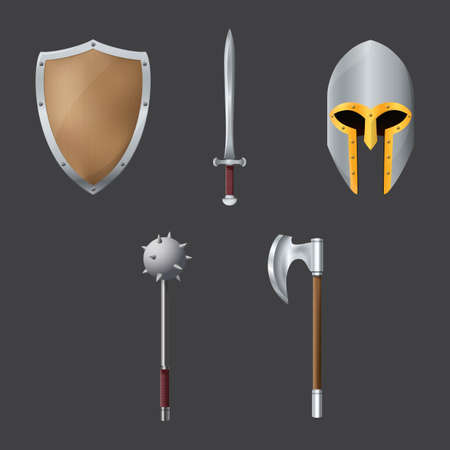 a cudgel: set of medieval weapons and armors