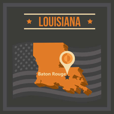 baton rouge: map of louisiana state