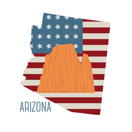 grand canyon: arizona state map with grand canyon