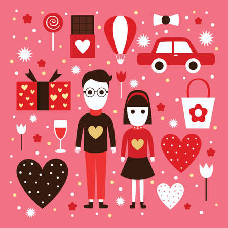 hot couple: set of valentine icons