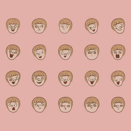 collectie van gezichtsuitdrukkingen Vector Illustratie