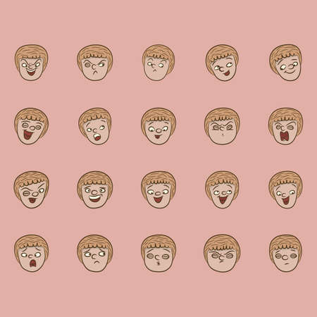 cruel: collection of facial expressions Illustration