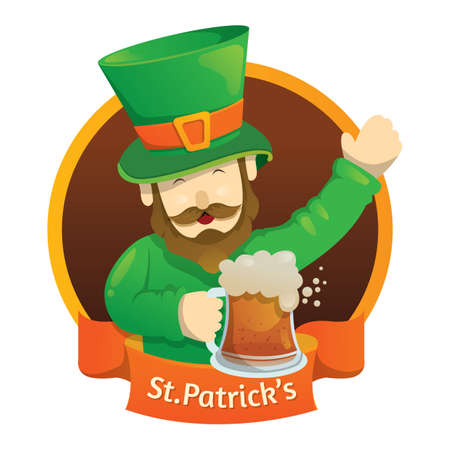 st  patrick's day: st patricks day banner with leprechaun