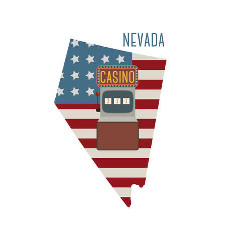 nevada: nevada state map with slot machine Illustration