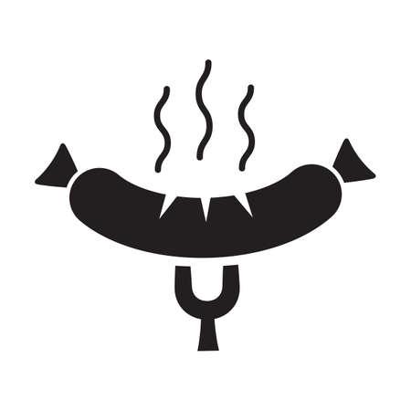 german sausage: meat fork with sausage