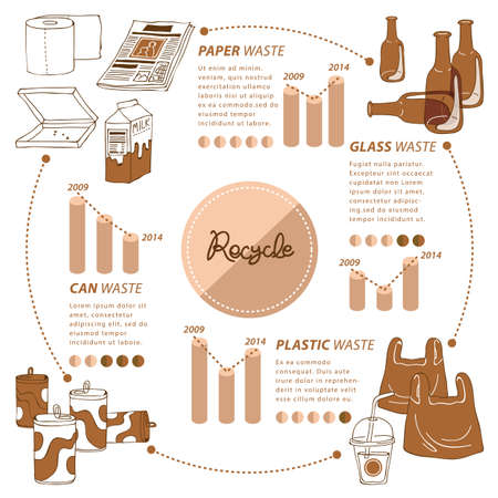 newspaper roll: recycle infographic