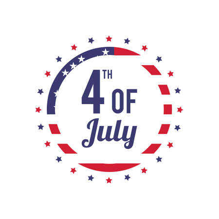 fourth july: fourth of july label Illustration