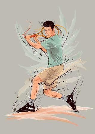 tennisspeler in actie Vector Illustratie