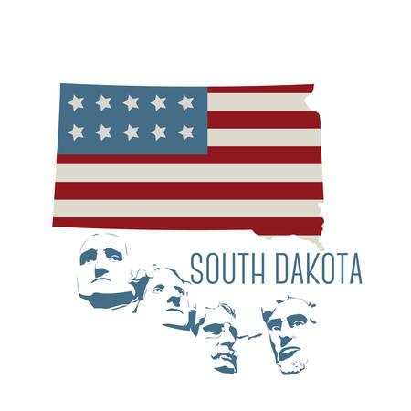 south dakota: south dakota state map with mount rushmore