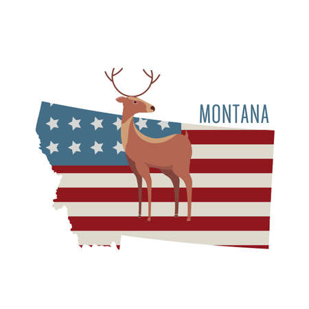 whitetail deer: montana state map with deer