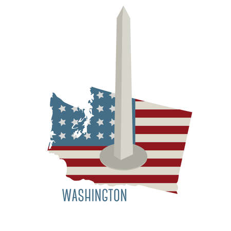 washington monument: washington state map with washington monument Illustration